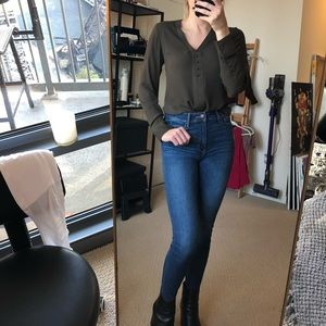 Olive silky blouse